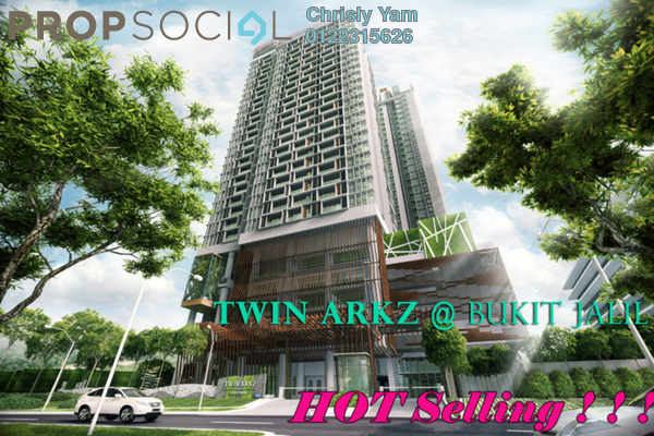 For Sale Condominium at Twin Arkz, Bukit Jalil Freehold Semi Furnished 3R/2B 970k
