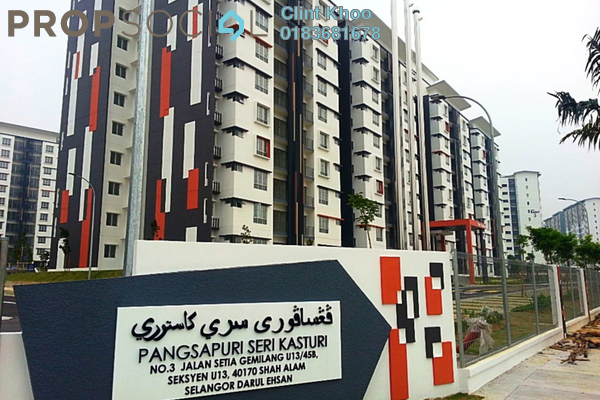 For Rent Apartment at Seri Kasturi, Setia Alam Freehold Semi Furnished 3R/2B 850translationmissing:en.pricing.unit