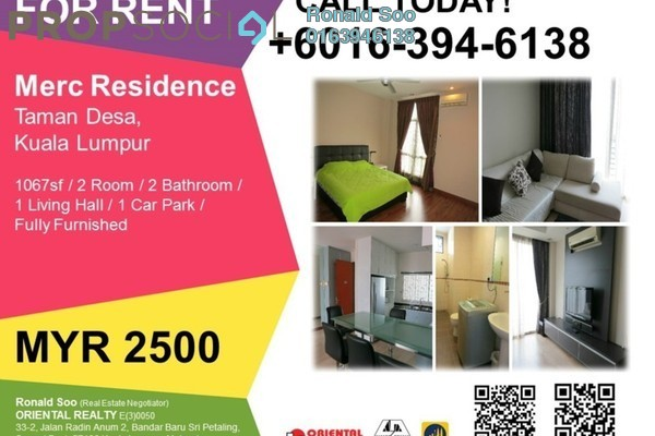 For Rent Condominium at Merc Residence, Taman Desa Freehold Fully Furnished 2R/2B 2.5k