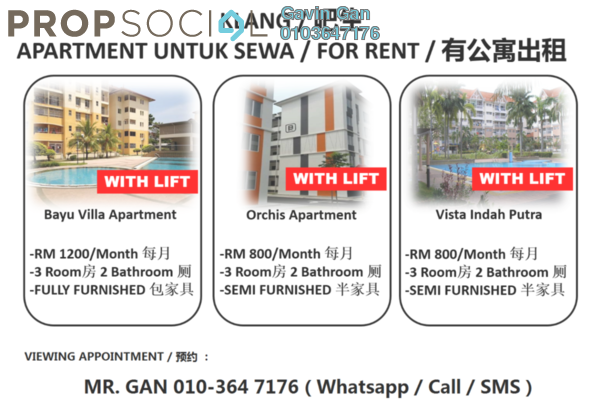 For Rent Apartment at Bayu Villa, Klang Freehold Semi Furnished 3R/2B 800translationmissing:en.pricing.unit