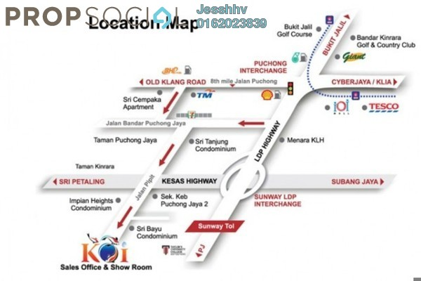 For Rent Serviced Residence at Koi Kinrara, Bandar Puchong Jaya Freehold Fully Furnished 3R/3B 1.8k