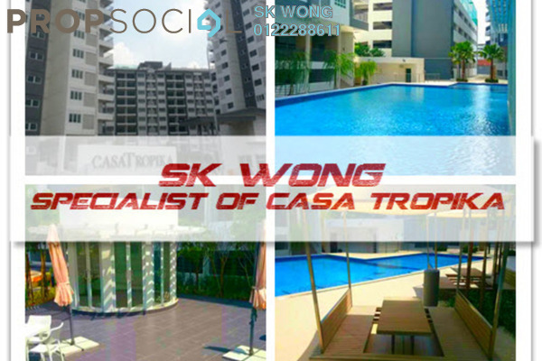 For Rent Condominium at Casa Tropika, Puchong Leasehold Semi Furnished 3R/2B 1.2k
