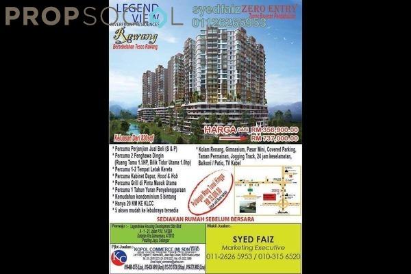 For Sale Condominium at LegendView Condominium, Rawang Leasehold Fully Furnished 3R/2B 357k