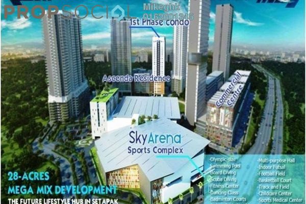 For Sale Condominium at Ascenda Residence @ SkyArena, Setapak Leasehold Unfurnished 3R/2B 553k