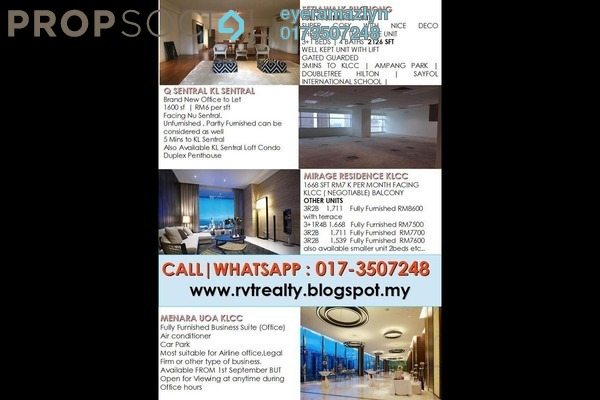 For Rent Office at Kirana Residence, KLCC Freehold Fully Furnished 0R/0B 5k
