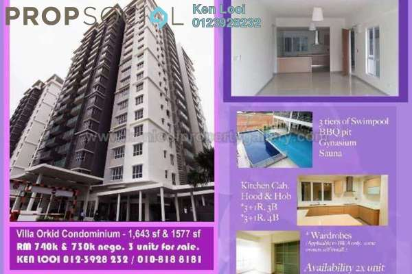 For Sale Condominium at Villa Orkid, Segambut Freehold Semi Furnished 3R/3B 740k
