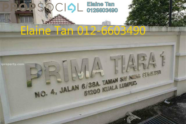 For Sale Apartment at Prima Tiara 1, Segambut Freehold Semi Furnished 3R/2B 410k