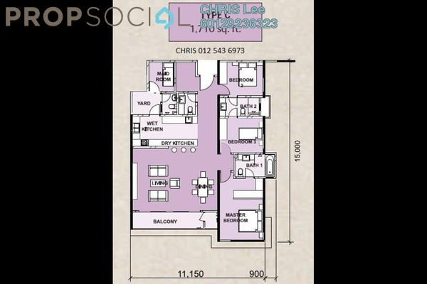 For Sale Condominium at Le Yuan Residence, Kuchai Lama Freehold  3R/2B 1.11m