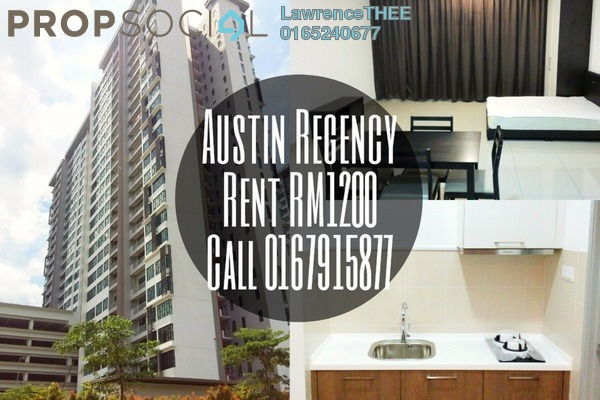 For Rent SoHo/Studio at Austin Regency, Tebrau Freehold Fully Furnished 1R/1B 1.1k