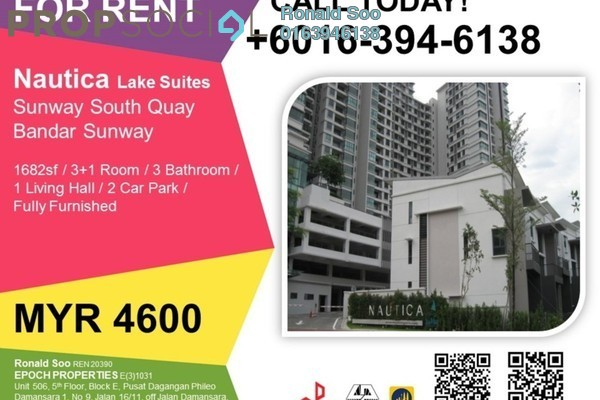 For Rent Condominium at Nautica Lake Suites @ Sunway South Quay, Bandar Sunway Leasehold Fully Furnished 3R/3B 4.6k