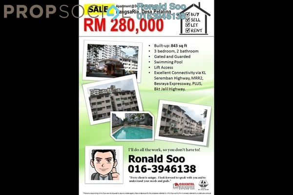For Sale Apartment at PangsaRia, Desa Petaling Freehold Unfurnished 3R/2B 280k