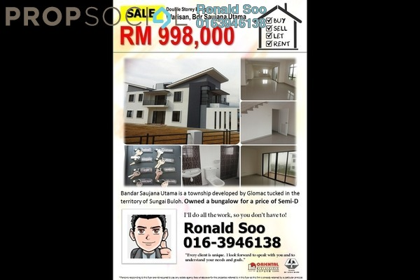 For Sale Bungalow at Bandar Saujana Utama, Sungai Buloh Leasehold Unfurnished 4R/4B 998k