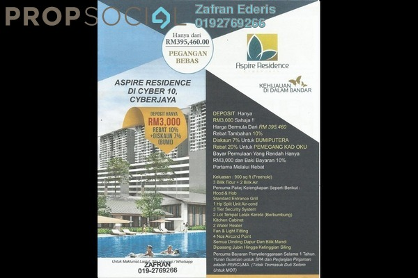 For Sale Apartment at Aspire Residence, Cyberjaya Freehold Semi Furnished 3R/2B 395k