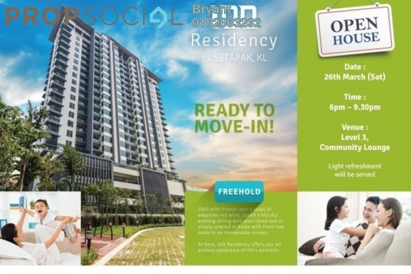 For Sale Condominium at 100 Residency, Setapak Freehold Semi Furnished 4R/3B 760k