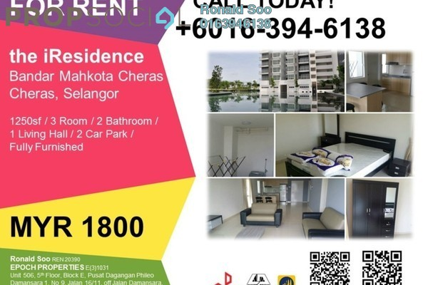 For Rent Condominium at The iResidence, Bandar Mahkota Cheras Freehold Fully Furnished 3R/2B 1.8k