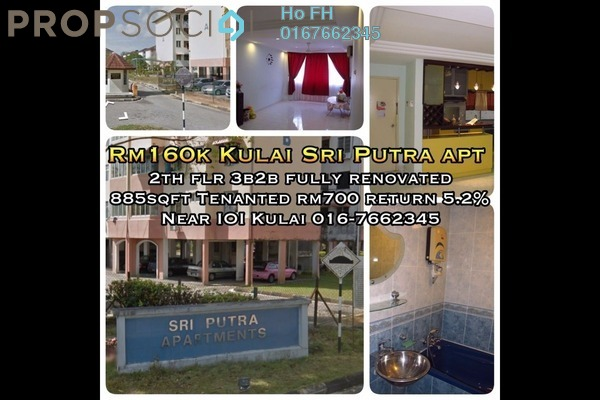 For Sale Apartment at Taman Lagenda Putra, Kulai Freehold Semi Furnished 3R/2B 160k