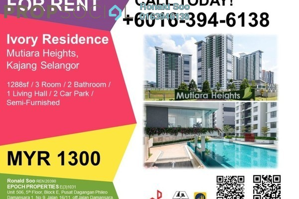 For Rent Condominium at Ivory Residence, Kajang Freehold Semi Furnished 3R/2B 1.3k