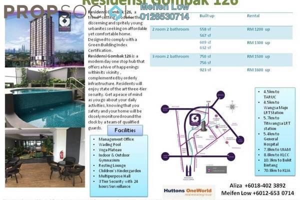 For Rent Condominium at Residensi Gombak 126, Setapak Freehold Unfurnished 2R/2B 1.2k