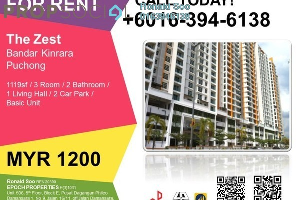 For Rent Condominium at The Zest, Bandar Kinrara Freehold Fully Furnished 3R/2B 1.2k