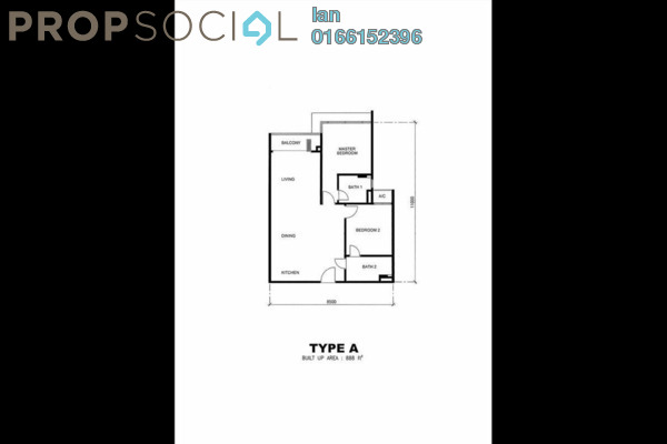 For Sale Serviced Residence at One Residences, Sungai Besi Leasehold Semi Furnished 2R/2B 588k