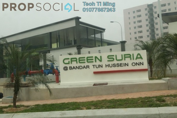 For Sale Condominium at Green Suria Apartment, Bandar Tun Hussein Onn Freehold Semi Furnished 4R/2B 360k