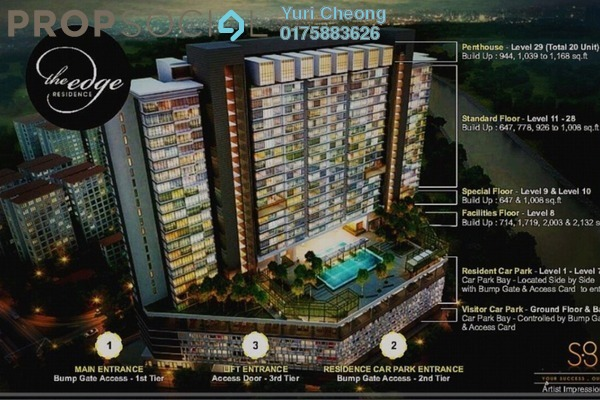 For Sale Condominium at The Edge Residen, Subang Jaya Leasehold Semi Furnished 2R/2B 430k