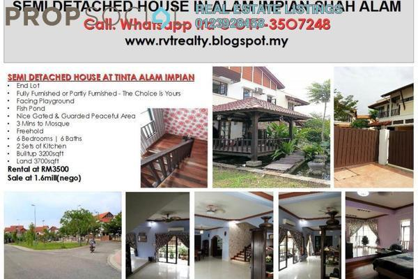 For Rent Semi-Detached at Tinta, Alam Impian Freehold Fully Furnished 6R/6B 3.2k