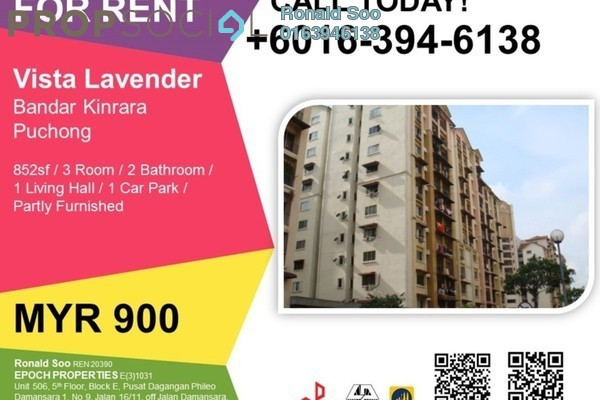 For Rent Apartment at Vista Lavender, Bandar Kinrara Leasehold Semi Furnished 3R/2B 900translationmissing:en.pricing.unit