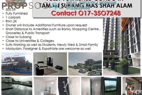 For Rent Condominium at Taman Subang Mas , Shah Alam Freehold Fully Furnished 1R/1B 1.2k