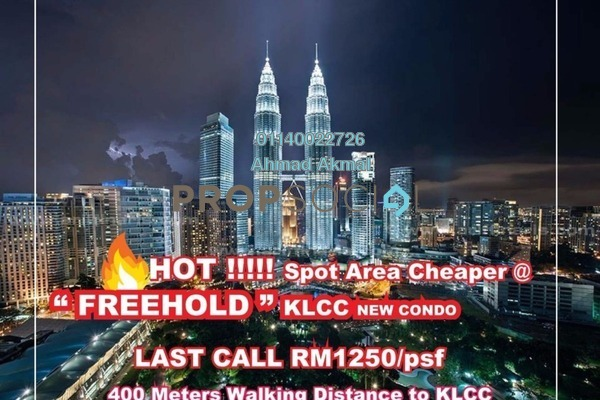 For Sale Condominium at The Manor, KLCC Freehold Semi Furnished 2R/2B 1.66m