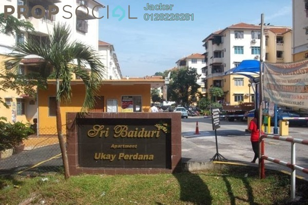 For Rent Apartment at Sri Baiduri Apartment, Ukay Leasehold Semi Furnished 3R/2B 1.2k