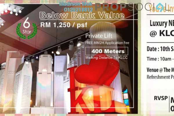 For Sale Condominium at The Manor, KLCC Freehold Semi Furnished 4R/4B 3.32m