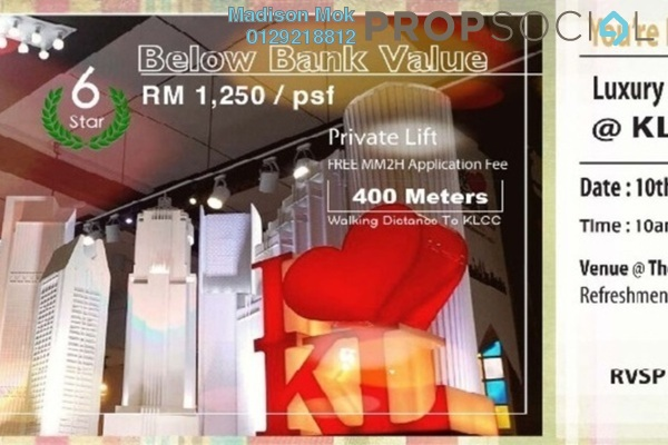 For Sale Condominium at The Manor, KLCC Freehold Semi Furnished 2R/2B 1.26m