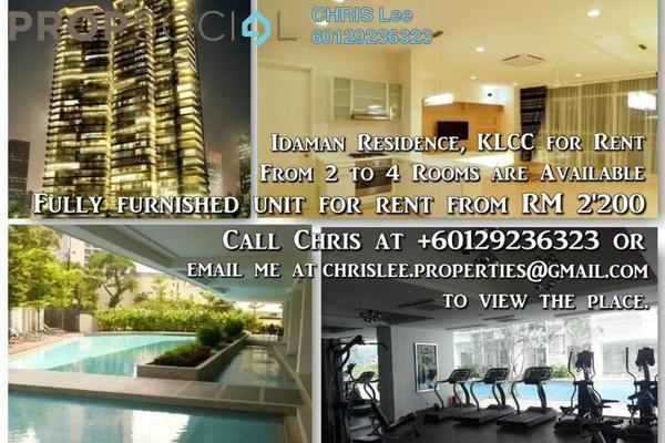 For Rent Condominium at Idaman Residence, KLCC Freehold Fully Furnished 3R/3B 7.5k