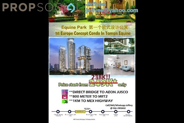 For Sale Condominium at Jalan Equine, Equine Park Freehold Semi Furnished 1R/1B 239k