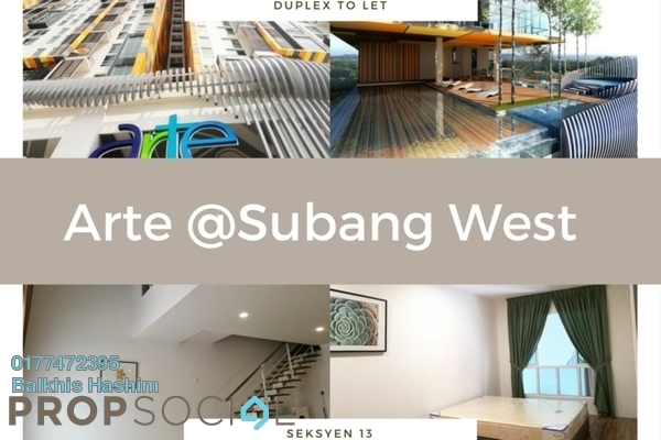 For Rent Duplex at Arte SW, Shah Alam Freehold Semi Furnished 2R/2B 1.8k