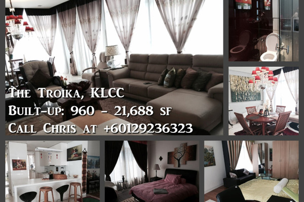 For Rent Condominium at The Troika, KLCC Freehold Unfurnished 3R/3B 12k