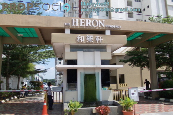 For Rent Condominium at The Heron Residency, Puchong Freehold Semi Furnished 3R/2B 1.6k