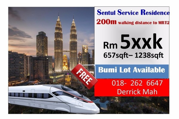 For Sale Serviced Residence at Rica Residence, Sentul Freehold Unfurnished 2R/1B 410k