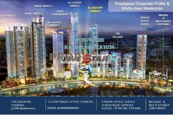 For Rent Office at The Pillars @ KL Eco City, Mid Valley City Freehold Unfurnished 1R/1B 24.2k
