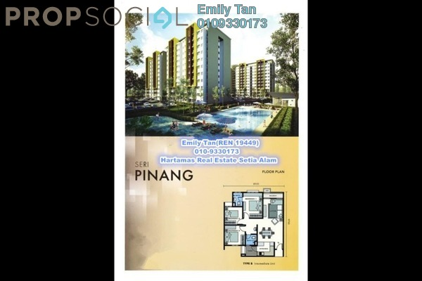 For Rent Apartment at Seri Pinang Apartment, Setia Alam Freehold Unfurnished 3R/2B 800translationmissing:en.pricing.unit