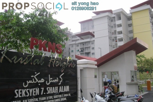 For Sale Condominium at Kristal Heights, Shah Alam Freehold Unfurnished 3R/2B 400k