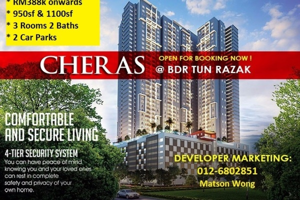 For Sale Condominium at The Holmes 2, Bandar Tun Razak Freehold Unfurnished 3R/2B 388k