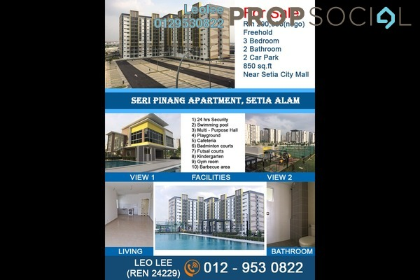 For Sale Apartment at Seri Pinang Apartment, Setia Alam Freehold Unfurnished 3R/2B 285k