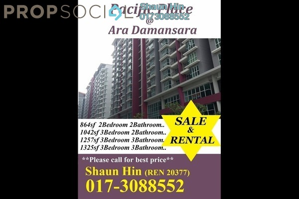 For Sale Condominium at Pacific Place, Ara Damansara Freehold Semi Furnished 2R/2B 510k