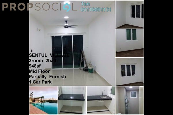 For Rent Condominium at Mercury Serviced Apartment @ Sentul Village, Sentul Freehold Semi Furnished 3R/2B 1.4k