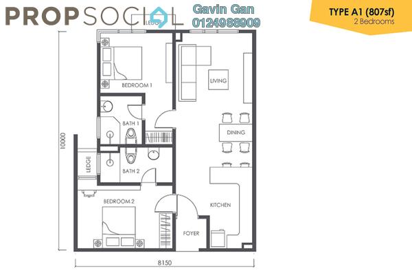 For Rent Serviced Residence at Urbana Residences @ Ara Damansara, Ara Damansara Freehold Semi Furnished 2R/2B 1.8k