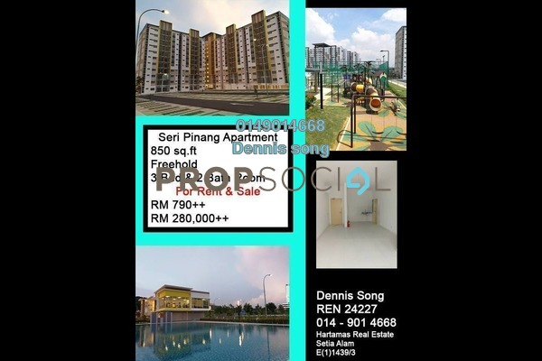 For Rent Condominium at Seri Pinang Apartment, Setia Alam Freehold Semi Furnished 3R/2B 790translationmissing:en.pricing.unit