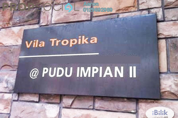For Rent Condominium at Villa Tropika @ Pudu Impian II, Cheras Freehold Semi Furnished 3R/2B 1.5k