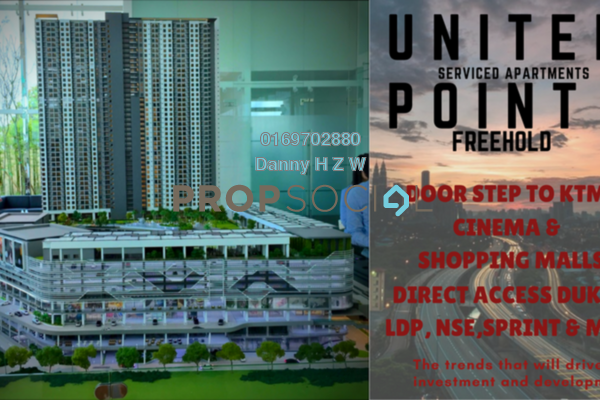 For Sale Serviced Residence at United Point Residence, Segambut Freehold Unfurnished 3R/2B 560k